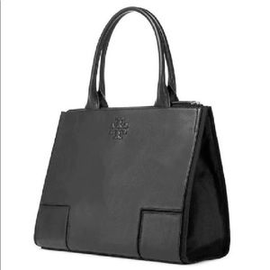 Tory Burch Ella Leather Canvas Lg Tote Bag Black